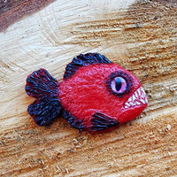 Piranha Necklace pendant, piranha jewelry, piranha brooch pin, piranha totem, piranha handmade of clay, river creatures animals piranhas