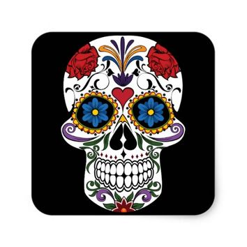Colorful Sugar Skull Square Sticker