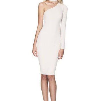 Nookie Girl Talk One Shoulder Midi Bodycon Dress - White