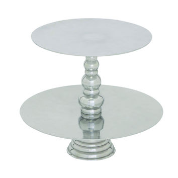 Exotic Stainless Steel Cupcake Stand With Two Tiers