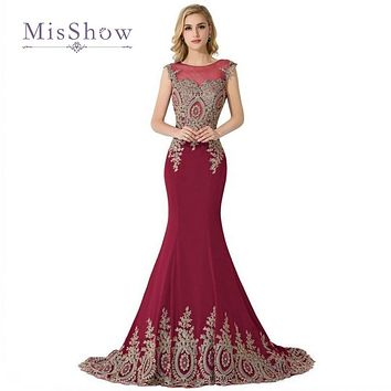 Robe De Soiree Royal Blue Red Long Mermaid Evening Dresses 2017 Sheer Back Lace Appliques Black Formal Evening Gowns For Women