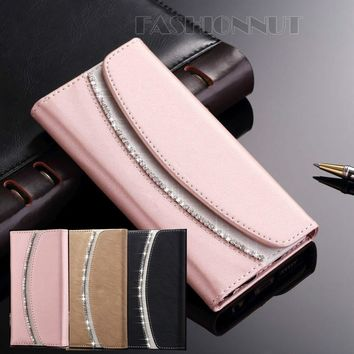 Bling Bling Luxury Crystal Rhinestones Flip PU Leather Case Stylish Handbag Magnetic Wallet Card Cover For iPhone 4 4S 5 5S 5C S