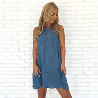 Momentum Denim Blue Jersey Shift Dress