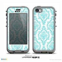 The Fancy Laced Turquiose & White Pattern Skin for the iPhone 5c nüüd LifeProof Case