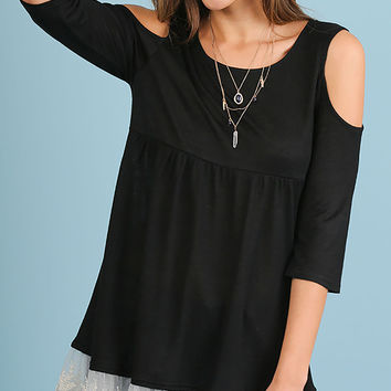 Umgee Black Open Shoulder Tunic with Lace Hemline