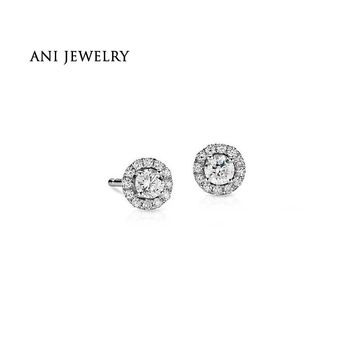 14KT White Gold 0.5 CT Certified I/S1 Round Cut Real Diamond Halo Stud Earrings