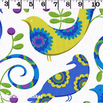 Micheal Miller Fabric - Pretty Bird - Cotton Fabric - Pillow and Maxwell - Quilting Cotton - by the yard - Quilters Cotton - Bird Print