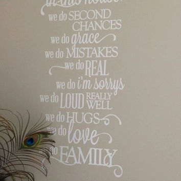 Vinyl Wall Quote, Family Rules, In This House, removable white matt vinyl, Wall Decor, housewares