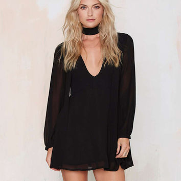 Long Sleeve V-neck A-Line Mini Dress