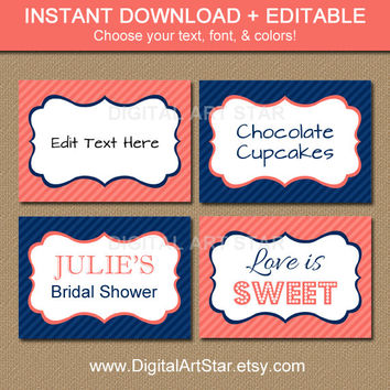 Coral Navy Blue Printable Buffet Cards - Tent Cards and Labels - Bridal, Baby Shower, Birthday - Blank DIY Food Labels - INSTANT DOWNLOAD