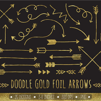 Gold Glitter Arrows Clip Art Set. Hand Drawn Arrows Clipart. Gold Glitter Doodle Arrows. Tribal Arrow Images. Golden Metallic Arrow Clipart.