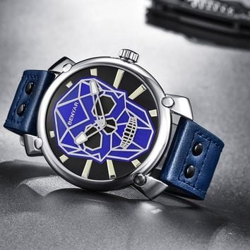 Marine Blue Leather Military Watch
