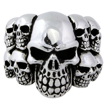 Sterling Silver Ninth Circle of Hell Skull Ring