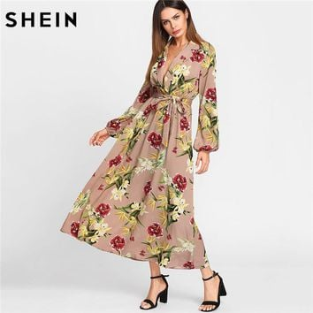 SHEIN Maxi Dress Women Deep V Neck Multicolor Fit and Flare A Line Dress Lantern Sleeve Surplice Wrap Floral Dress