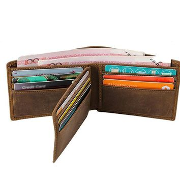 Genuine Leather 9 Card Slots Bifold Wallet Vintage First Layer Of Leather Card Package Purse For Men