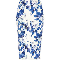 River Island Womens Blue floral wrap pencil skirt