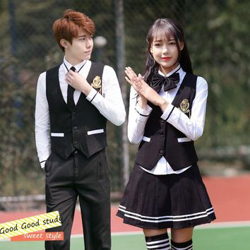 2018 Summer Japanese School Uniform Cosplay Costume College Chorus of Primary School Students British Coat Skirt Sets