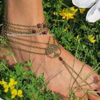 Tree Bohemian Barefoot Sandal, One Anklet, Tree of Life, Garnet, Beaded Barefoot Sandal, Ankle Bracelet, Foot Chain, Foot Accessory, Beach