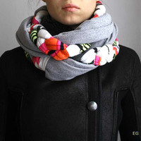 unique womens scarf , modern braided scarf infinity scarf fashion scarf twist cowl neon gray  chunky christmas gift for her