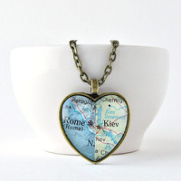 Map Heart Necklace / Custom Heart Necklace / Long Distance Girlfriend Gift / Gifts Under 30 / Romantic Christmas Gift / Gifts for Her