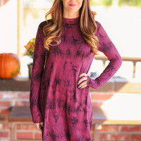 Plum Surprised Tye Dye Dress