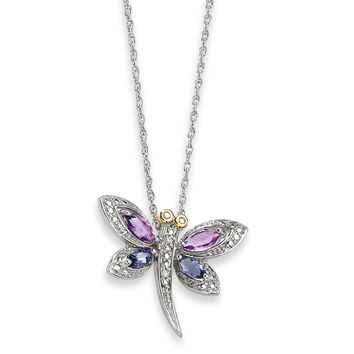 Sterling Silver & 14K Amethyst and Iolite and Diamond Dragonfly Necklace QG2711