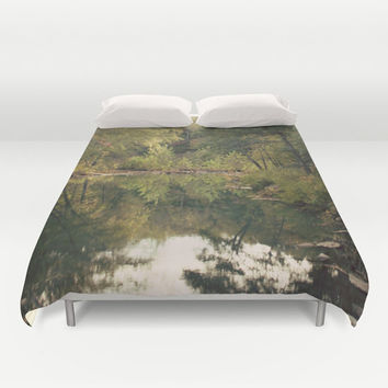 Art Duvet Cover In the Woods 3 Photography home decor Bed Cover scenic Green brown pond reflection nature landscape bedding Queen king