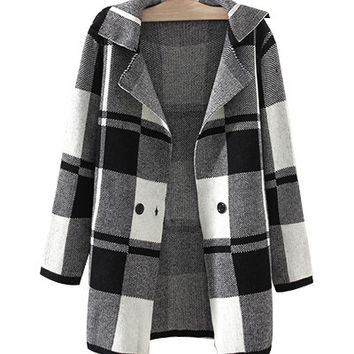 Grey Plaid Notched Collar Knitted Coat