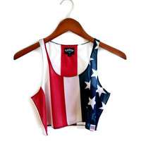 "Lady Liberty ""USA"" Cropped Tank Top"