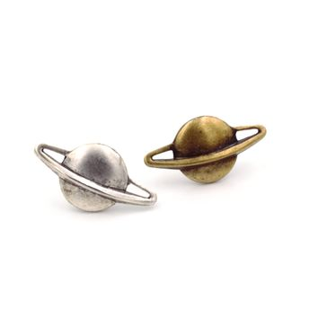 Planet Saturn Tie Tack or Lapel Pin, Silver Plated or Antiqued Brass