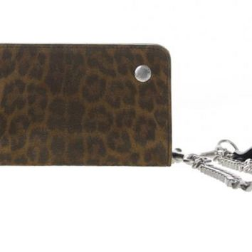 Saint Laurent Men's Leather Leopard Speckled Wallet with Chain 360938