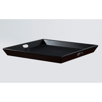 Birch Wood Ottoman Tray with cutout handles, Black