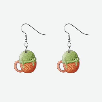 Green tea ice cream earrings