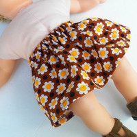 "American Girl Bitty Baby Clothes 15"" Doll Clothes Girl Brown Yellow White Daisy Sunflower Skirt Fall Autumn"