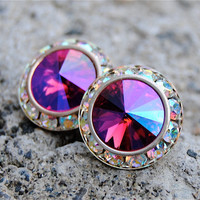 Aurora Borealis Earrings - Sugar Sparklers - Swarovski Hot Pink MIst, Northern Lights Rhinestone Stud Earrings - Mashugana