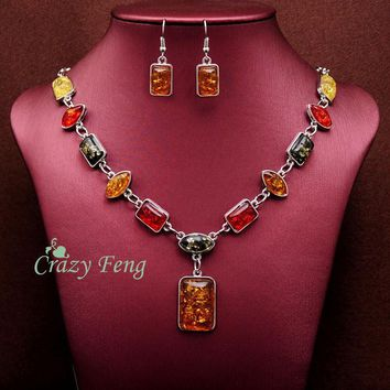 Free shipping Women's Vintage Retro Silver Plated Amber African Jewelry Sets Necklace + Earrings Wedding sets