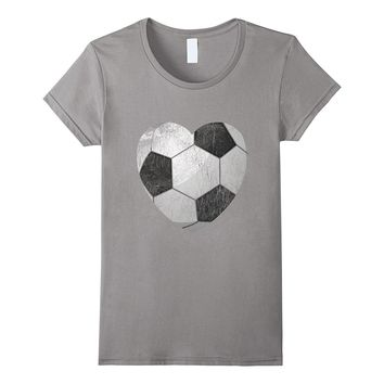 I Love Soccer T-shirt Fan Tee for Gift Heart Ball Match Team