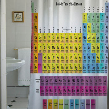 periodic table shower curtain that will make your bathroom adorable