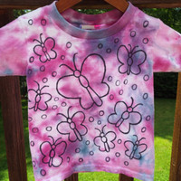 Girls Butterfly Shirt, Custom Tie Dye Butterfly Tshirt, Girls Tie Dye Shirt, Toddler Tie Dye, Little Girls butterfly party, butter fly