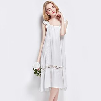 Women's Summer Vintage Nightgowns Cotton Female Ladies Elegant Sleeveless Nightdress For Sleeping Lace Thin Home Dress Sleepwear
