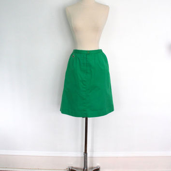 Vintage Lacoste Skirt / Skort / Green Cotton / Preppy Summer / Size Extra Small XS S