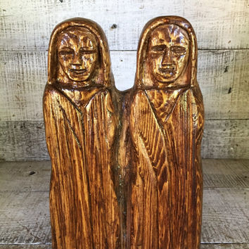 Vintage Wood Figurine Folk Art Figurine Wooden People Hand Carved Wooden Women Figurine Wood Sculpture Wood Art