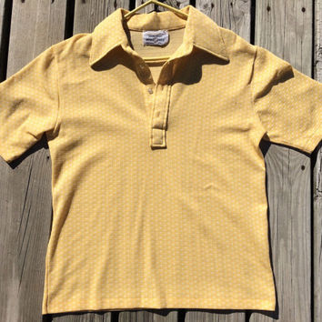 Vintage 1970's Yellow and White Patterned Men's Arnold Palmer / Robert Bruce Golf Shirt / XL