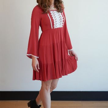 Embroidered Flare Bell Sleeve Dress - 4 Colors!