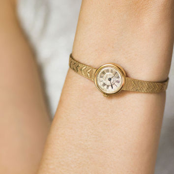 Cocktail watch bracelet Seagull, gold plated women's watch tiny, round classy fashion women's watch, bride watch gift her