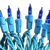 Set of 100 Blue Everglow Designer Mini Christmas Lights - Glitter Blue Wire