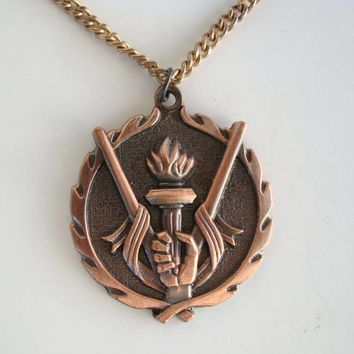 Copper 'Carrying the Torch' Pendant Necklace Athlete Olympic Jewelry