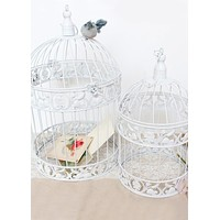 "Set of 2 Decorative White Metal Bird Cages - 16-19.25"" Tall"