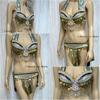Blue Vaporeon Gypsy Belly Dancer Rave Bra and Skirt
