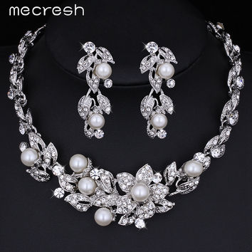 Mecresh Simulated Pearl Bridal Jewelry Sets Crystal Silver Color Flower Necklace Earrings Sets Wedding Jewelry TL351